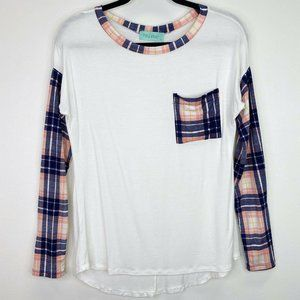Filly Flair White Plaid Pocket High Low T-Shirt